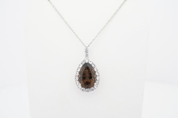 10k Smokey Quartz & Sapphire Pear Halo Necklace