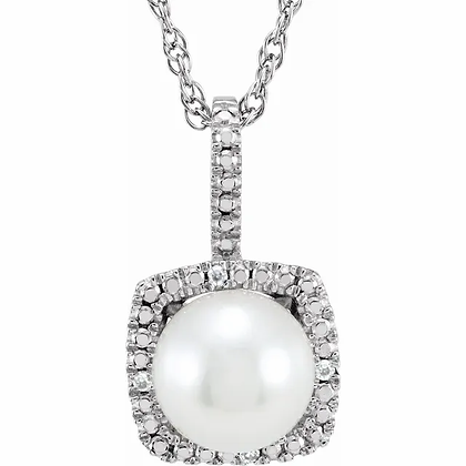Sterling Silver Pearl Halo-Style Necklace