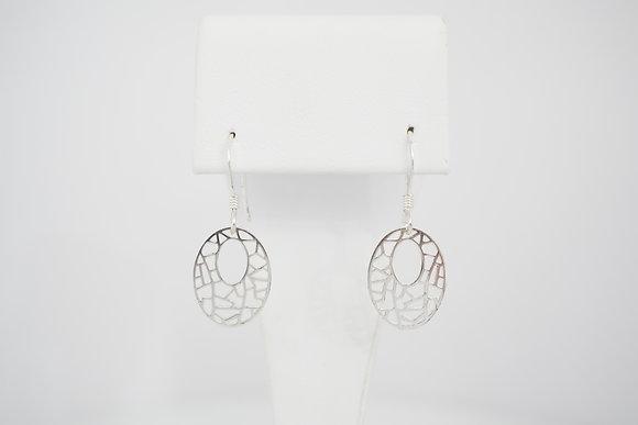 Sterling Silver Oval Geometric Earrings