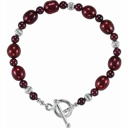 Sterling Silver, Rhodolite Garnet, and Pearl Bracelet