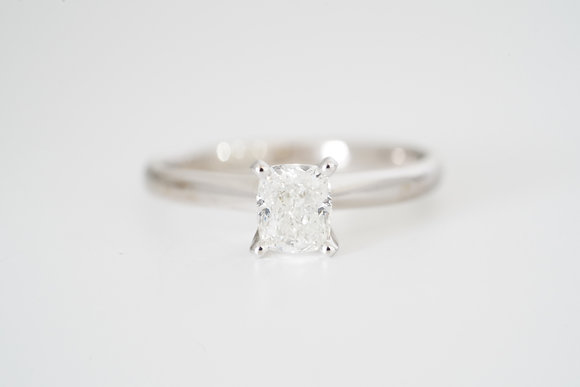 14k .80CT Cushion Solitaire Ring