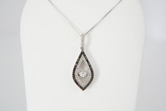 10k 1/3ctw Black & White Dancing Diamond Necklace