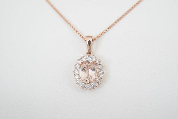 14k Morganite & Diamond Scalloped Halo Necklace