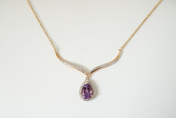 """10k 18"""" Amethyst & Created Sapphire Necklace"""