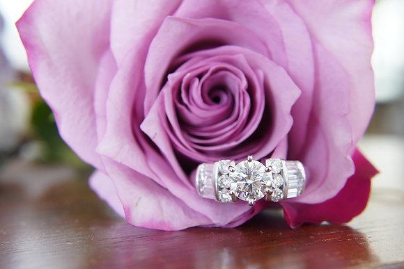 14k 1.71ctw Round & Baguette Diamond Ring