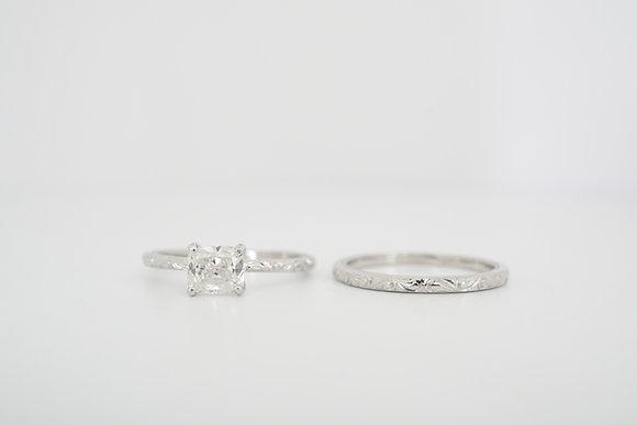 14k 1.09ctw Cushion Diamond & Engraved Wedding Set