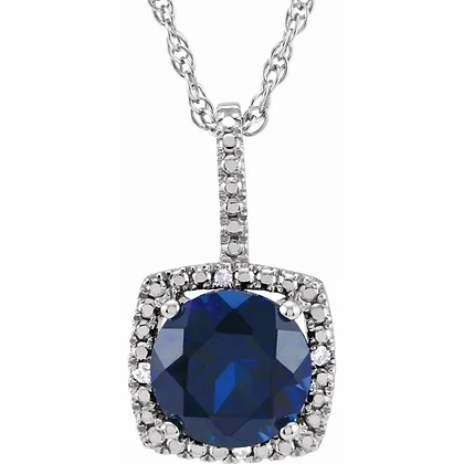 Sterling Silver Created Blue Sapphire Halo-Style Necklace