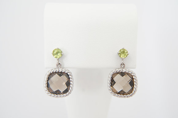 Sterling Silver Peridot & Smokey Quartz Earrings