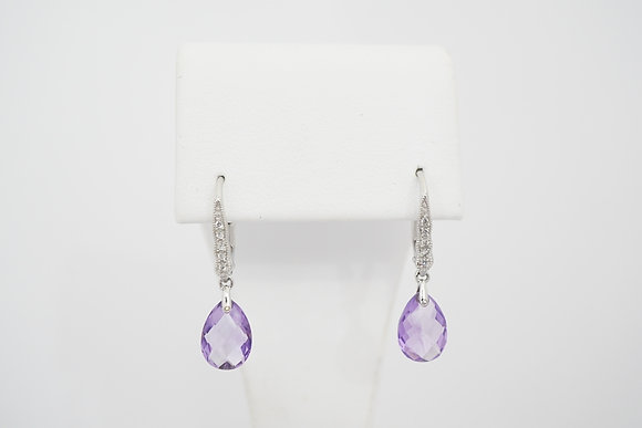 14k Briolette Amethyst Leverback Earrings