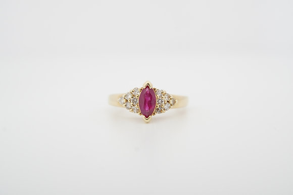 14l Marquise Ruby & Diamond Ring