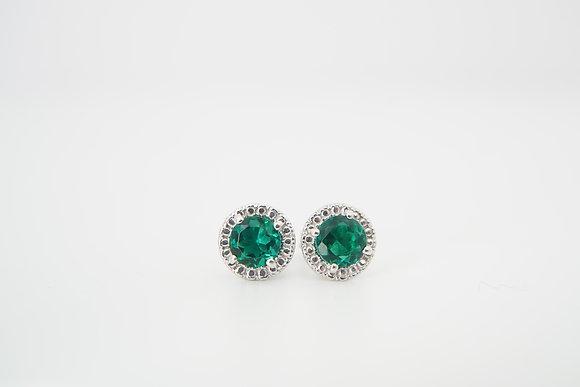 10k Created Emerald Beaded Halo Earrings
