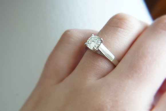 14k Cathedral Moissanite Solitaire