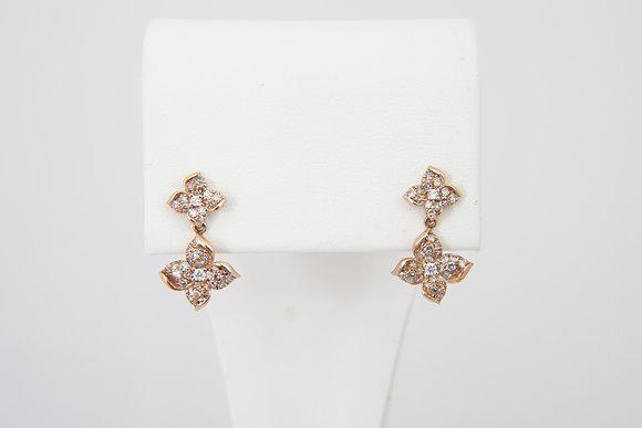 10k 3/8ctw Flower Dangle Earrings