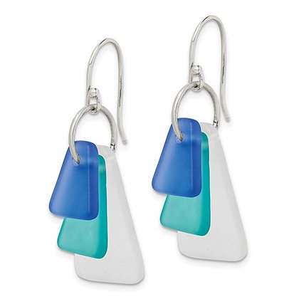 Sterling Silver Trio Blue Sea Glass Triangle Earrings