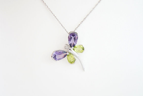 14k Amethyst & Peridot Dragonfly Necklace
