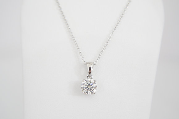 Sterling Silver 1ct Moissanite Solitaire Pendant