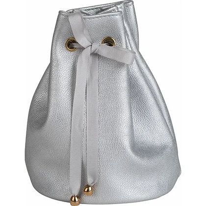 Silver Leatherette Travel Pouch