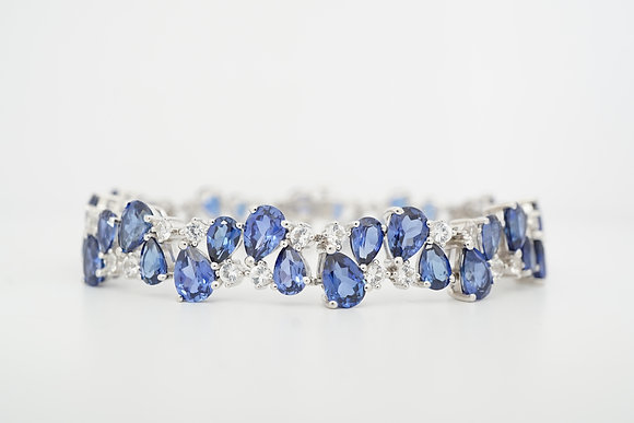 Sterling Silver Created Blue & White Sapphire Statement Bracelet
