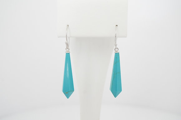 Sterling Silver Created Turquoise Drop Earrings