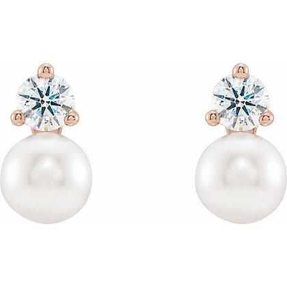 14k Rose, Diamond & Freshwater Pearl Earrings