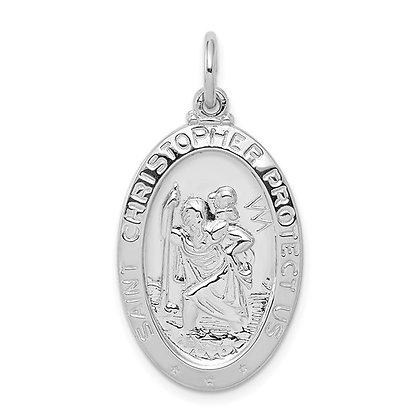 Sterling Silver Polished Oval Saint Christopher Medal