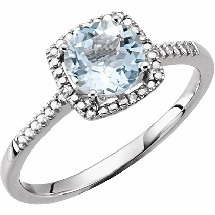 Sterling Silver Aquamarine Halo-Style Ring