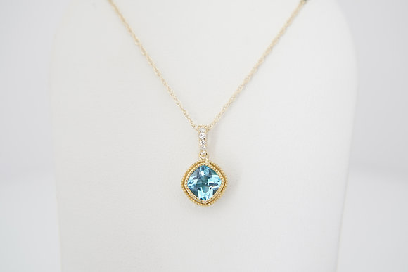 10k Blue Topaz & Diamond Bezel Necklace