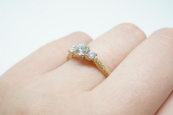"18K Vanna K ""3-Stone"" Diamond Ring"