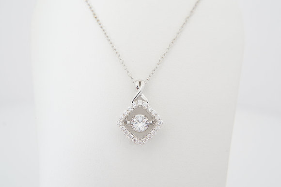 Sterling Silver Dancing CZ Cushion Halo Necklace