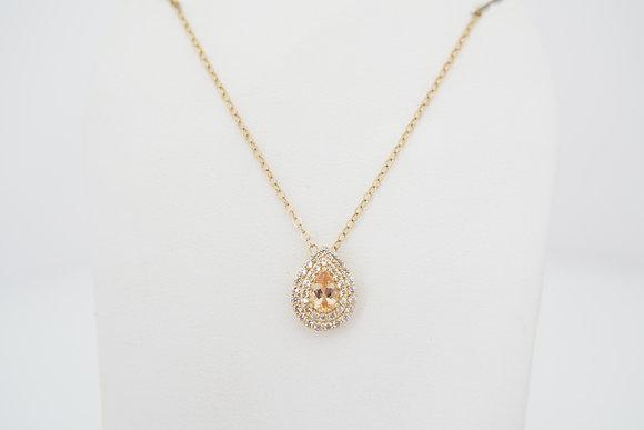 14k Imperial Topaz & White Zircon Halo Necklace