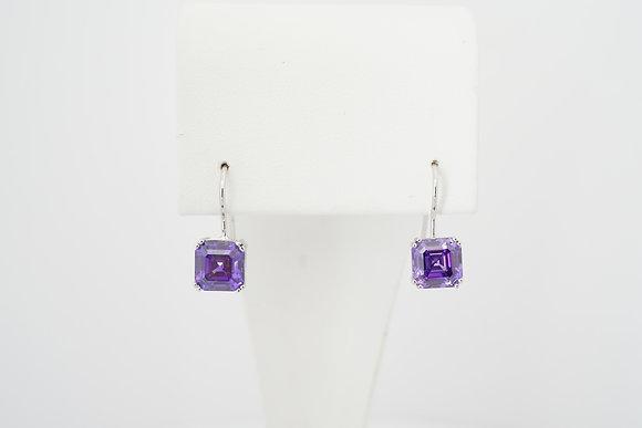 Sterling Silver Purple French-Hook Earrings