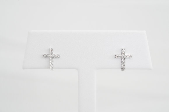 18k 1/5ctw Diamond Cross Studs