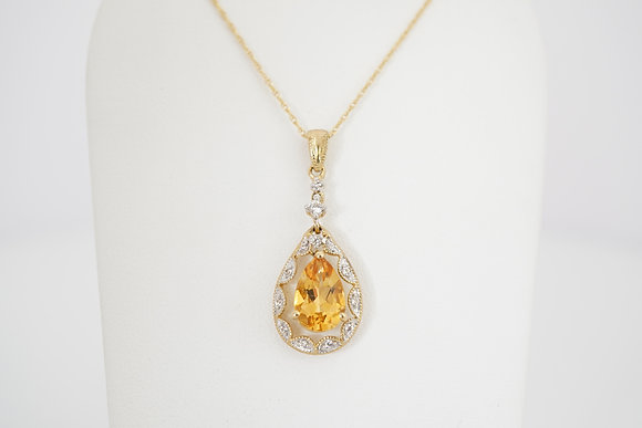 10k Citrine & Sapphire Vintage-Inspired Pear Necklace