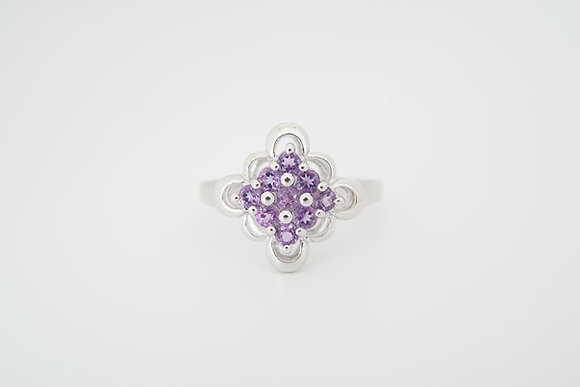 Sterling Silver Amethyst Floral Cluster Ring