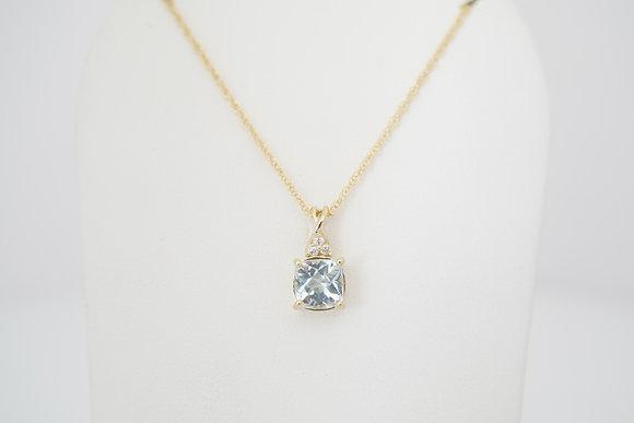 14k Cushion Aquamarine & Diamond Necklace