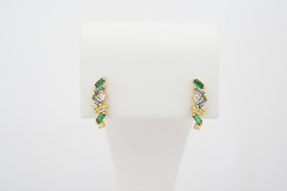 Sterling Silver Colorful Bar Stud Earrings
