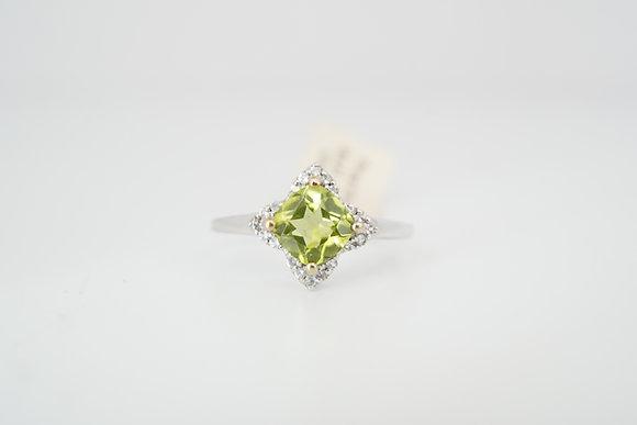 10k Peridot Floral Halo Ring