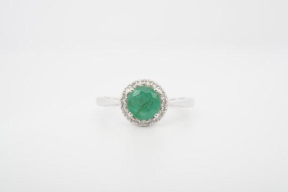 14k Emerald & Diamond Round Halo Ring