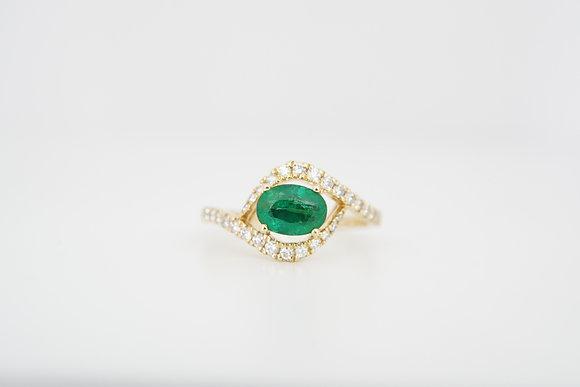 14k Emerald & Diamond East-West Bypass Ring