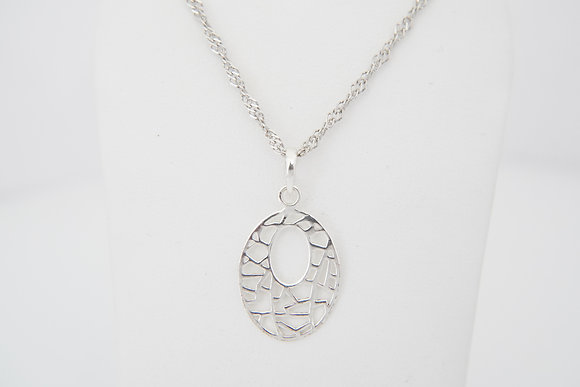 Sterling Silver Oval Geometric Necklace