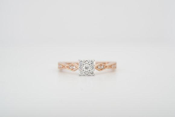 10k 1/3ctw Square Cluster Diamond Ring