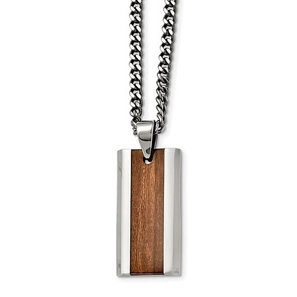 Steel Wood-Inlay Necklace