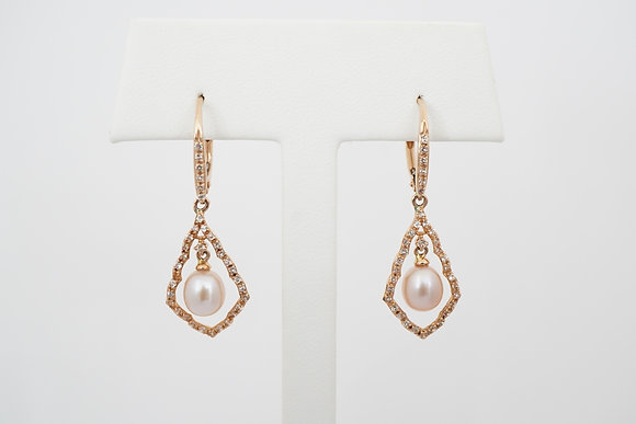 14k Pearl & Sapphire Scalloped Leverback Earrings