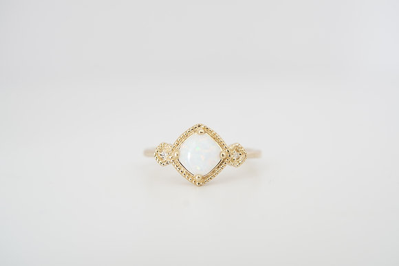 10k Created Opal & Diamond Milgrain Ring