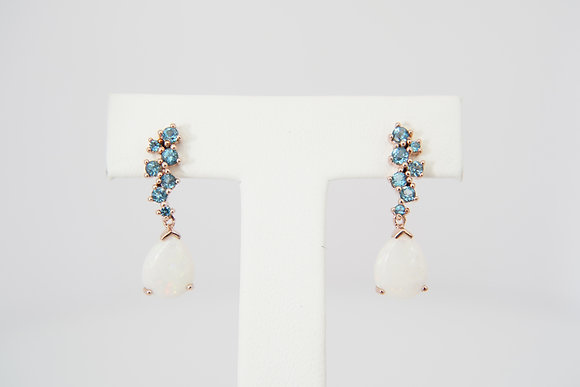 "14k ""Constellation"" Opal & Blue Topaz Earrings"