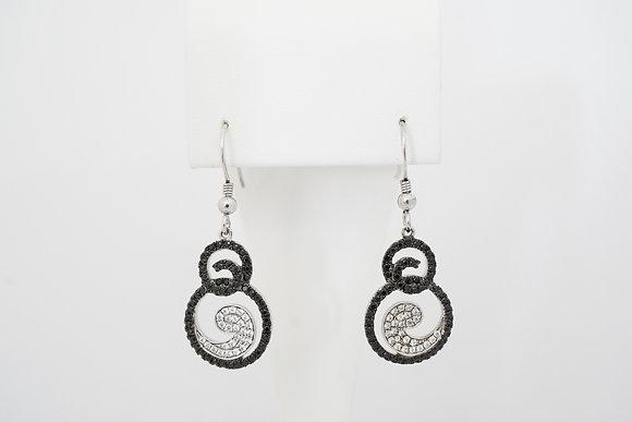Sterling Silver Black & White Swirl Earrings