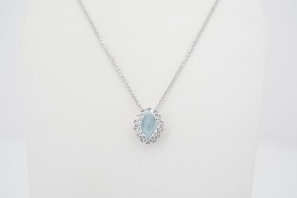 14k Blue Topaz & Diamond Oval Halo Necklace