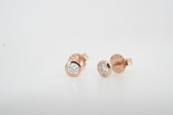 14k 1/5ctw Petite Bezel Stud Earrings