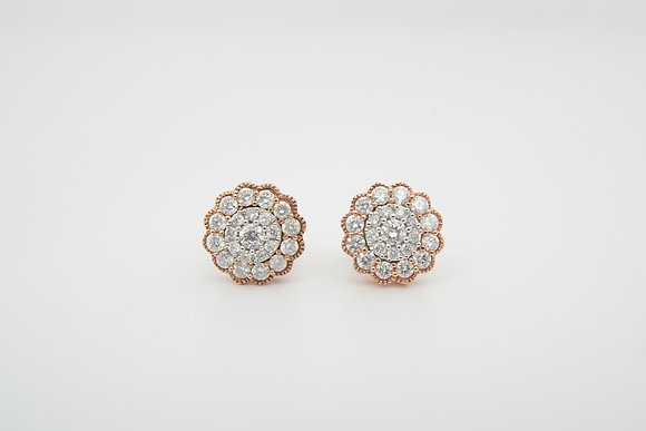 10k Floral-Inspired Cluster Earrings