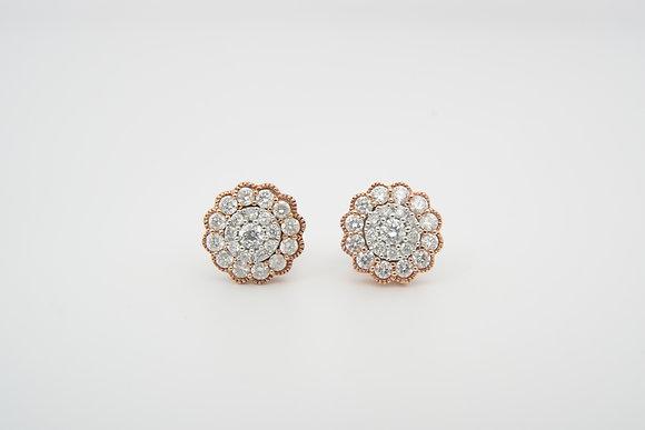 10k Floral-Inspired Cluster Earrings